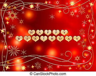 happy birthday 3 - 3d golden hearts, red letters, text -...
