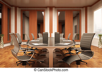 Boardroom interior - Side view of luxurious meeting with...