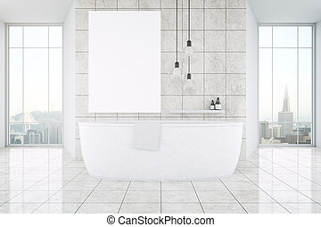 Light bathroom interior with panoramic city view, large...