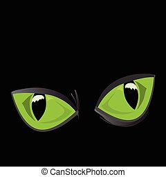 big cat eyes - vector illustration of close-up, huge, shiny,...
