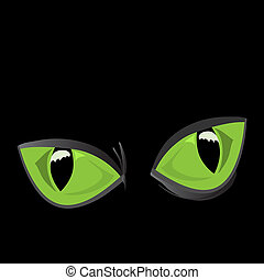 big cat eyes - vector illustration of close-up, huge, shiny,...