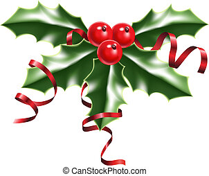 holly berries and ribbons - illustration of a sprig of holly...