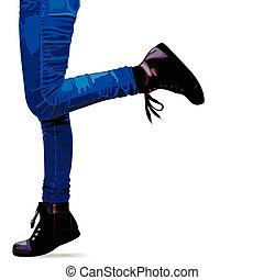 Photo realistic woman legs in jeans and shoes.