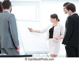 copywriter and designers to stand next to a blank poster and...