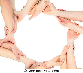 concept of the team's success : the hands of members of the...