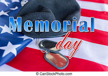 memorial day over american flag, hat and dog tag - military...