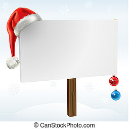 a christmas sign - an illustration of a blank winter sign,...