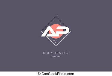ap a p vintage retro pink purple alphabet letter logo icon...