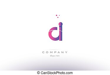 di d i pink modern creative alphabet letter logo icon...
