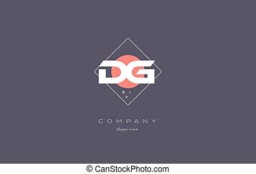 dg d g vintage retro pink purple alphabet letter logo icon...