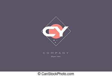 cy c y vintage retro pink purple alphabet letter logo icon...