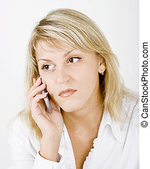 Girl with mobile phone - portrait of blonde girl with a...