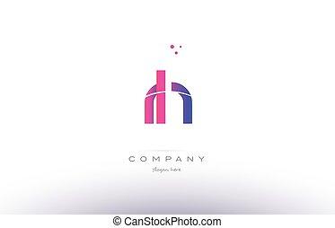 rh r h pink modern creative alphabet letter logo icon...