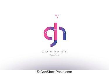 rosa, carta, G, H, moderno, creativo, plantilla, alfabeto,...