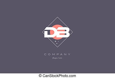 db d b vintage retro pink purple alphabet letter logo icon...