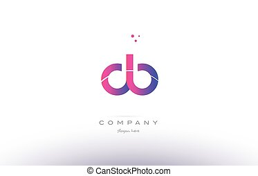 db d b pink modern creative alphabet letter logo icon...