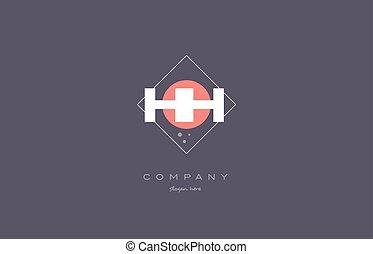 hh h h vintage retro pink purple alphabet letter logo icon...