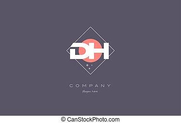 dh d h vintage retro pink purple alphabet letter logo icon...