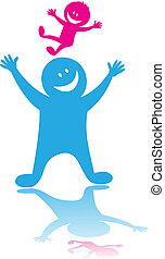 Happy father playing with the child