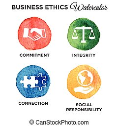Watercolor Business Ethics Solid Icon Set - Business Ethics...