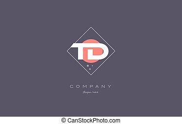 td t d vintage retro pink purple alphabet letter logo icon...