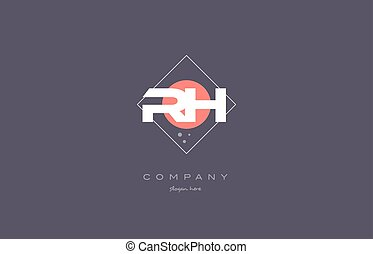 rh r h vintage retro pink purple alphabet letter logo icon...