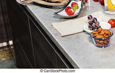 Stone counter top sample with mixed fruits and nuts - Stone...