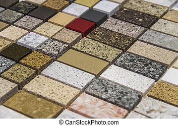 diferente, filas, interesante, cima, mostrador, colores,...