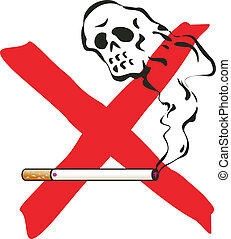 No smoking illustration with cigarette and skelleton