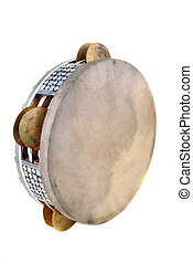 Tambourine with the tense skin and the inlaid rim with...