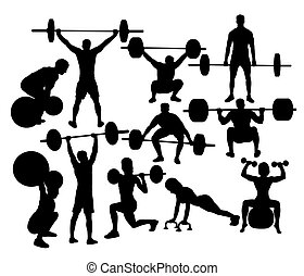 Power lifting Vector Silhouettes