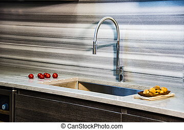 Close up of new kicthen modern sink station