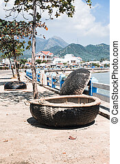 Harbor with fishing Vietnamese boats - Local fishing boats...