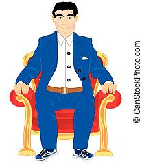Man in easy chair - Young man in suit sits in easy chair