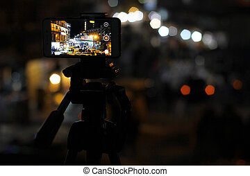 Mobile Timelapes. Mobile recording video at GPO chowk,...