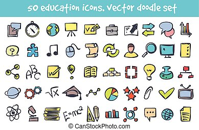 vector doodle nature icons set - Vector doodle education...