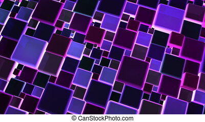 Neon Blue Lights Cubes Background In 4k - Abstract neon...