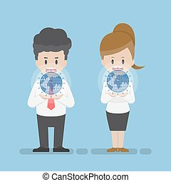 Businessman and Businesswoman Holding Virtual World on Their Hands