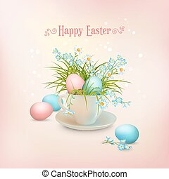 Happy Easter Card. Vector cup full of eggs and spring...