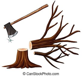 Chopping wood with axe illustration