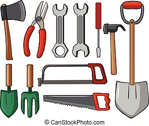 Different types of hand tools illustration