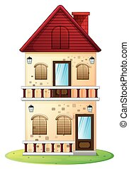 Two stories house with balcony illustration