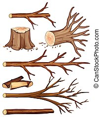 Firewood and stump trees  illustration
