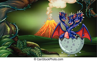Dragon with three heads in egg illustration