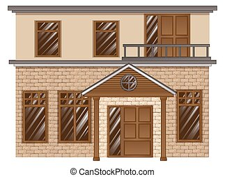 Brick house with balcony on second floor illustration