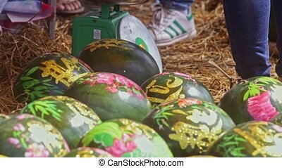 Watermelons Decorated with Paintings by Scales on Street...