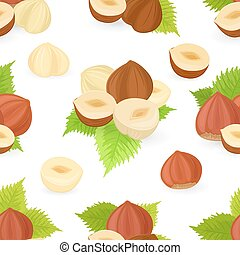 seamless texture with collection of hazelnuts for your design