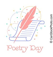 Greeting card World Poetry Day - Greeting card. Holiday -...