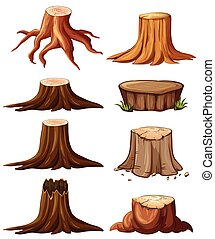Different types of stumps illustration