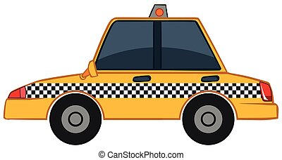 Yellow taxi on white background